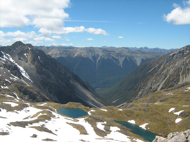 Looking down at tarns near Lake Angelus