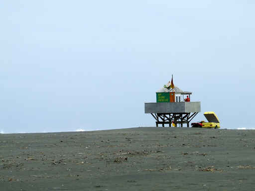 The surf lifesaving tower at Te Henga