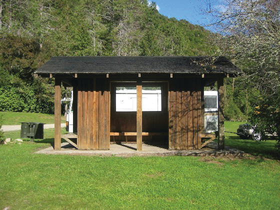 Cooking shelter at Lyell Camping Ground