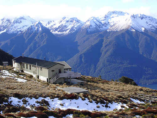 Luxmore Hut overlooking Lake Te Anau