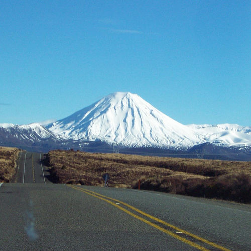 Driving towards Mt Ngauruhoe
