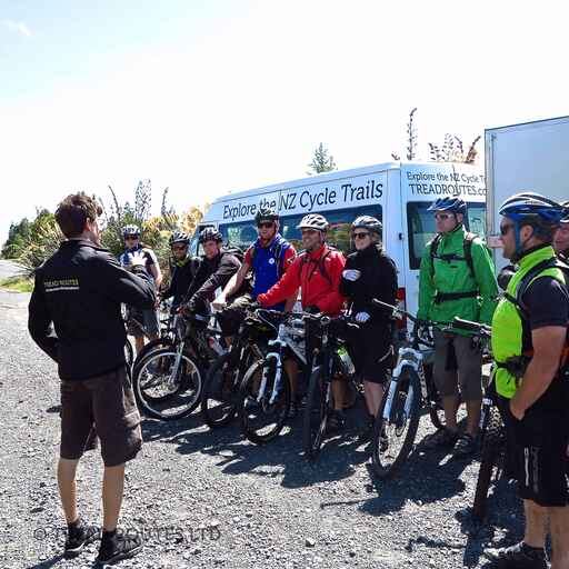 A group about to start a ride on the Mountains To Sea Trail