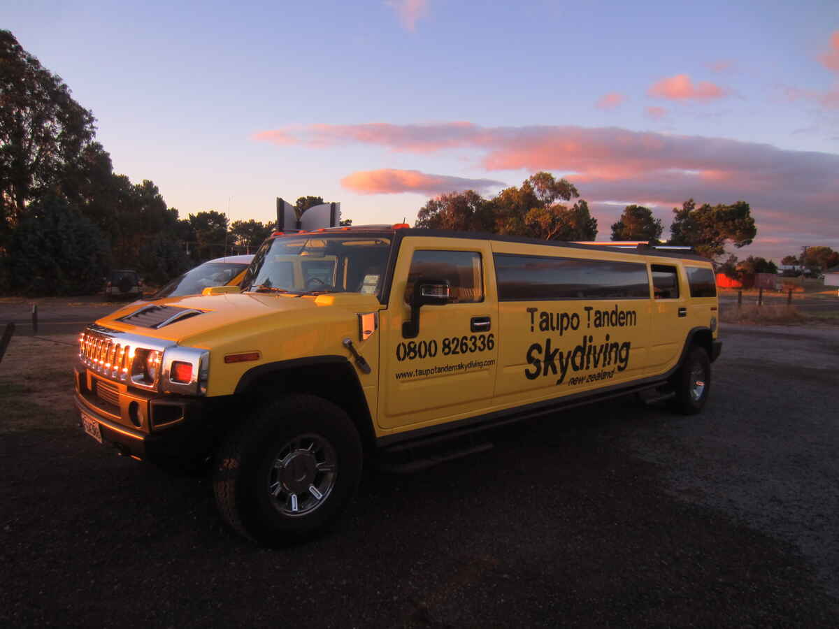 Free Taupo pick ups in our stretch Hummer!