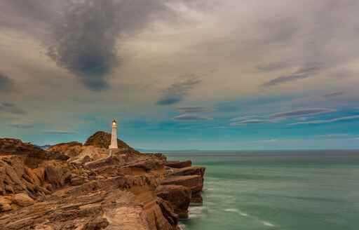 Castlepoint lighthouse and surrounding rocky features
