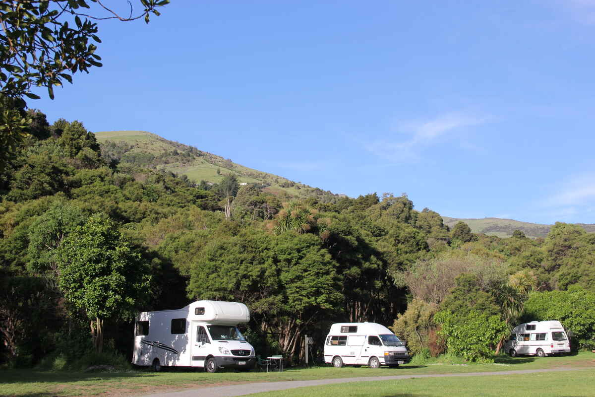 Riverside van and tent sites. Plenty of sunny or shady sites