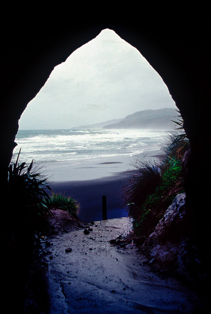 The entrance to Waikawau Beach through the stock tunnel