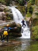 New Zealand Canyoning Jumping feet first