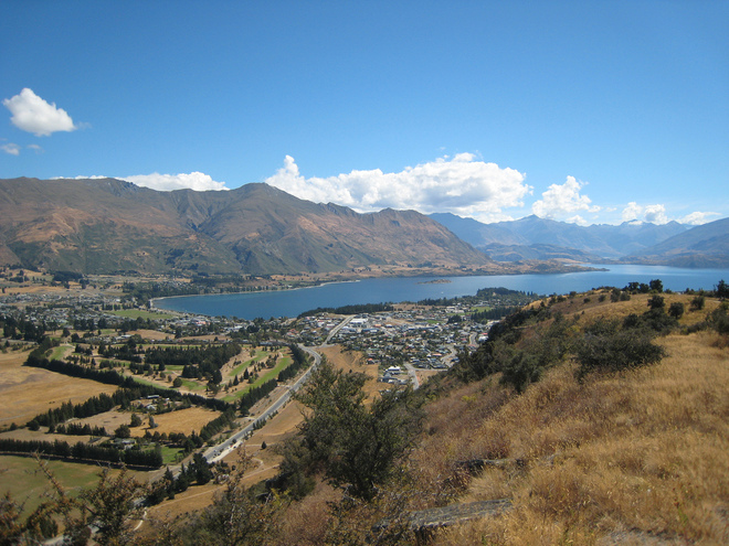 Wanaka nestled beside Mt Iron
